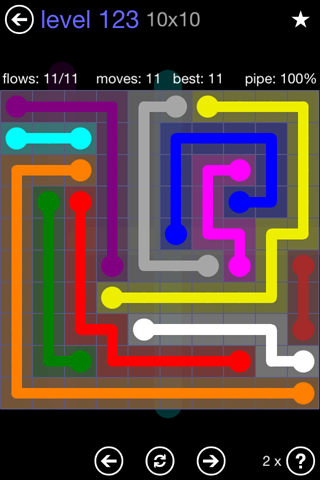 Solution and Answer to the Puzzle for Flow 10mania Pack Set 10x10 Level 123