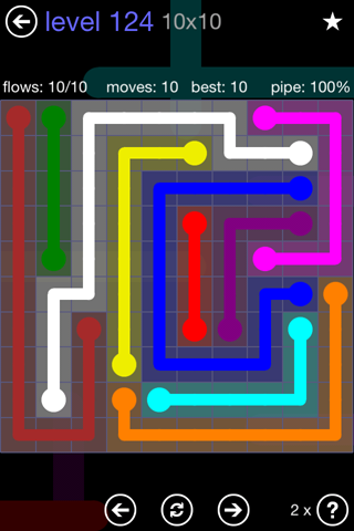 Solution and Answer to the Puzzle for Flow 10mania Pack Set 10x10 Level 124