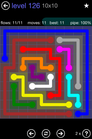 Solution and Answer to the Puzzle for Flow 10mania Pack Set 10x10 Level 126