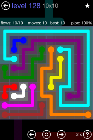Solution and Answer to the Puzzle for Flow 10mania Pack Set 10x10 Level 128