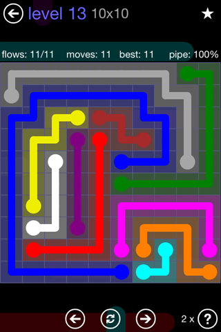 Solution and Answer to the Puzzle for Flow 10mania Pack Set 10x10 Level 13