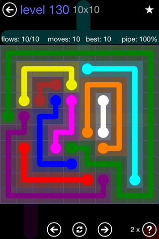 Solution and Answer to the Puzzle for Flow 10mania Pack Set 10x10 Level 130