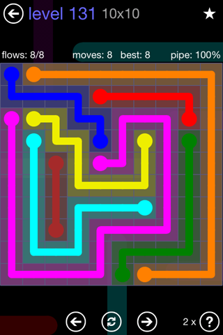 Solution and Answer to the Puzzle for Flow 10mania Pack Set 10x10 Level 131