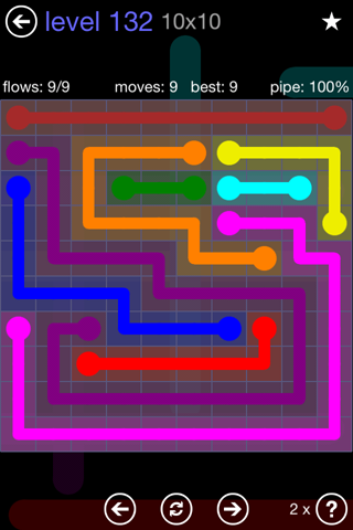Solution and Answer to the Puzzle for Flow 10mania Pack Set 10x10 Level 132
