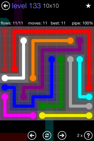 Solution and Answer to the Puzzle for Flow 10mania Pack Set 10x10 Level 133
