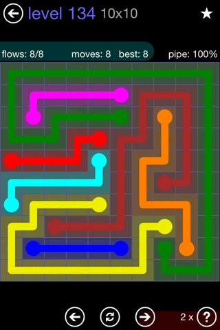 Solution and Answer to the Puzzle for Flow 10mania Pack Set 10x10 Level 134