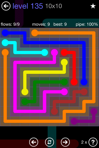 Solution and Answer to the Puzzle for Flow 10mania Pack Set 10x10 Level 135