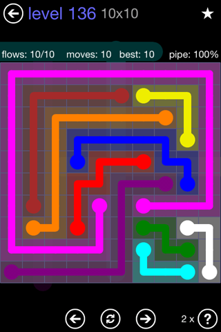 Solution and Answer to the Puzzle for Flow 10mania Pack Set 10x10 Level 136