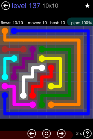 Solution and Answer to the Puzzle for Flow 10mania Pack Set 10x10 Level 137