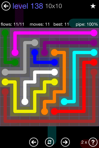 Solution and Answer to the Puzzle for Flow 10mania Pack Set 10x10 Level 138