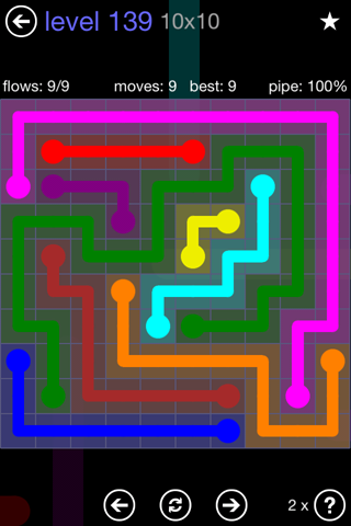 Solution and Answer to the Puzzle for Flow 10mania Pack Set 10x10 Level 139