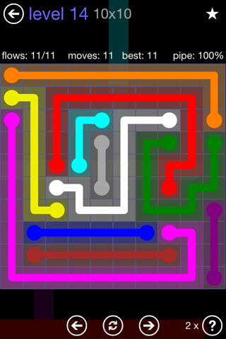 Solution and Answer to the Puzzle for Flow 10mania Pack Set 10x10 Level 14