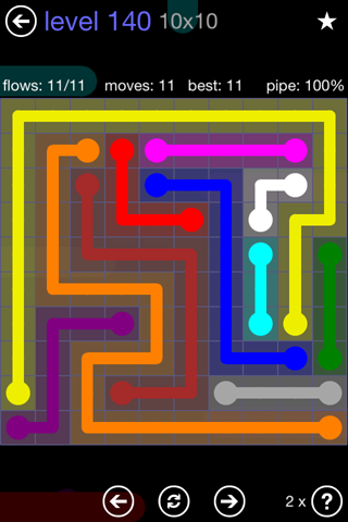 Solution and Answer to the Puzzle for Flow 10mania Pack Set 10x10 Level 140