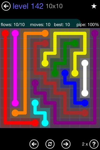 Solution and Answer to the Puzzle for Flow 10mania Pack Set 10x10 Level 142