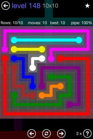 Solution and Answer to the Puzzle for Flow 10mania Pack Set 10x10 Level 148