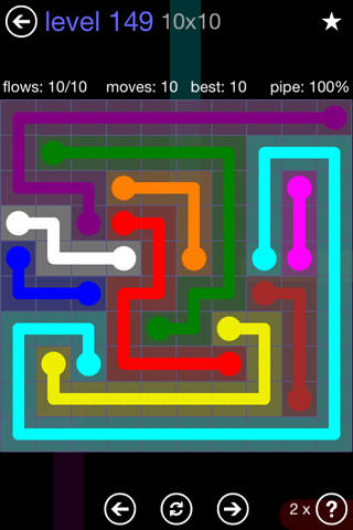 Solution and Answer to the Puzzle for Flow 10mania Pack Set 10x10 Level 149