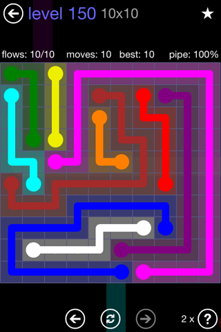 Solution and Answer to the Puzzle for Flow 10mania Pack Set 10x10 Level 150