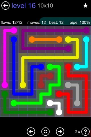 Solution and Answer to the Puzzle for Flow 10mania Pack Set 10x10 Level 16