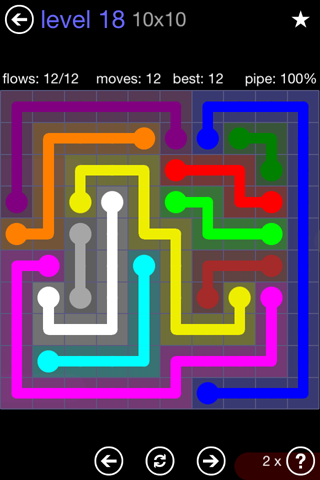 Solution and Answer to the Puzzle for Flow 10mania Pack Set 10x10 Level 18