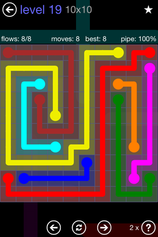 Solution and Answer to the Puzzle for Flow 10mania Pack Set 10x10 Level 19