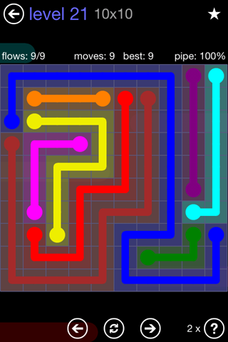 Solution and Answer to the Puzzle for Flow 10mania Pack Set 10x10 Level 21