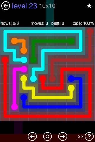 Solution and Answer to the Puzzle for Flow 10mania Pack Set 10x10 Level 23