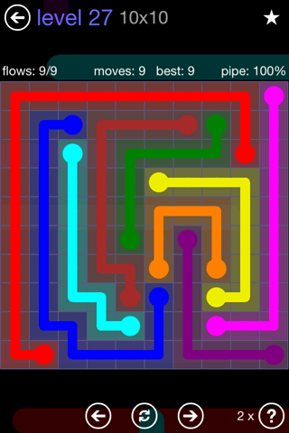 Solution and Answer to the Puzzle for Flow 10mania Pack Set 10x10 Level 27