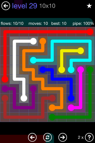 Solution and Answer to the Puzzle for Flow 10mania Pack Set 10x10 Level 29