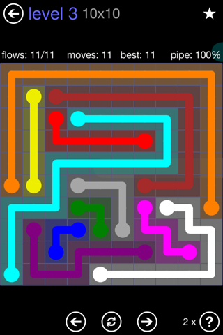 Solution and Answer to the Puzzle for Flow 10mania Pack Set 10x10 Level 3