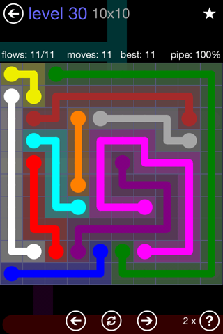 Solution and Answer to the Puzzle for Flow 10mania Pack Set 10x10 Level 30