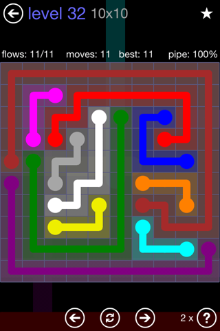 Solution and Answer to the Puzzle for Flow 10mania Pack Set 10x10 Level 32
