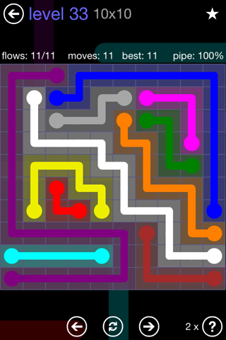 Solution and Answer to the Puzzle for Flow 10mania Pack Set 10x10 Level 33