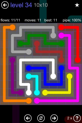 Solution and Answer to the Puzzle for Flow 10mania Pack Set 10x10 Level 34