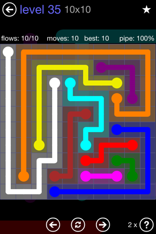 Solution and Answer to the Puzzle for Flow 10mania Pack Set 10x10 Level 35