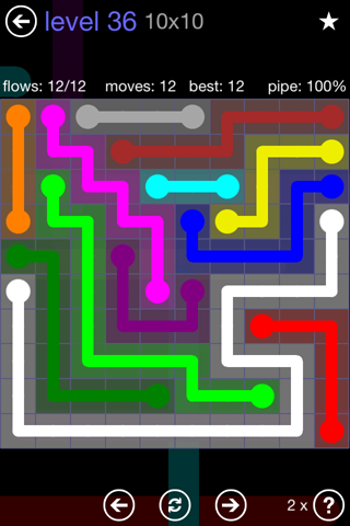 Solution and Answer to the Puzzle for Flow 10mania Pack Set 10x10 Level 36