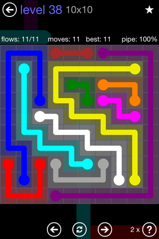 Solution and Answer to the Puzzle for Flow 10mania Pack Set 10x10 Level 38