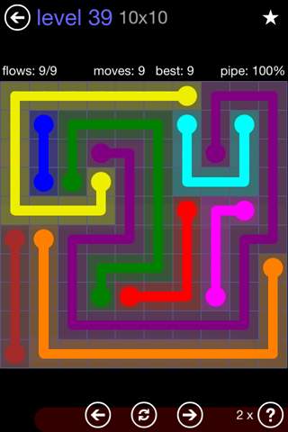 Solution and Answer to the Puzzle for Flow 10mania Pack Set 10x10 Level 39