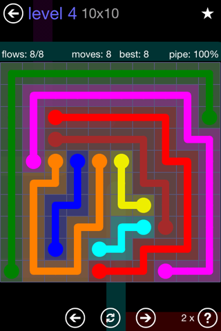 Solution and Answer to the Puzzle for Flow 10mania Pack Set 10x10 Level 4