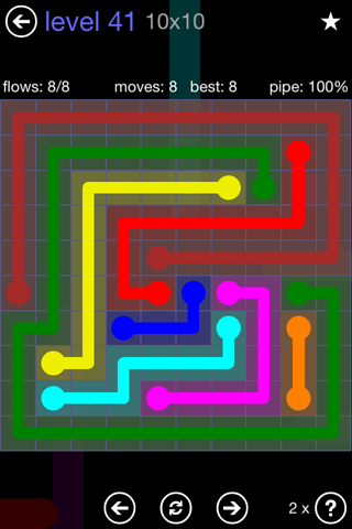 Solution and Answer to the Puzzle for Flow 10mania Pack Set 10x10 Level 41