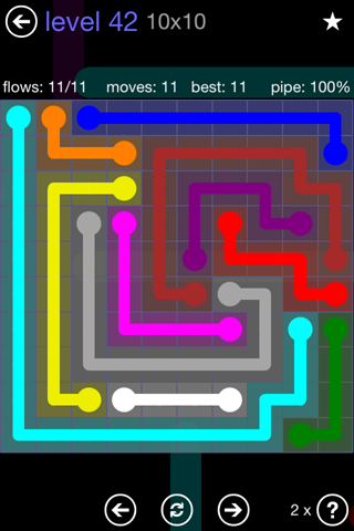 Solution and Answer to the Puzzle for Flow 10mania Pack Set 10x10 Level 42