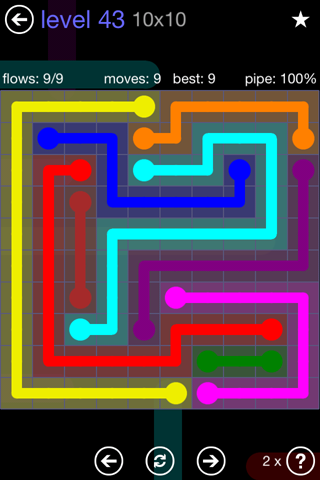 Solution and Answer to the Puzzle for Flow 10mania Pack Set 10x10 Level 43