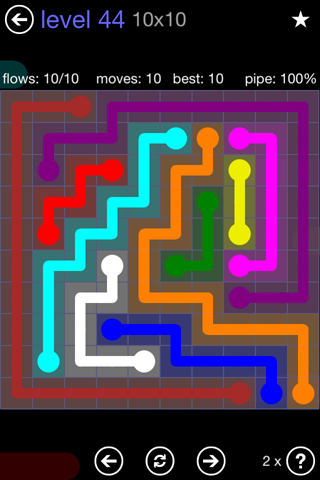 Solution and Answer to the Puzzle for Flow 10mania Pack Set 10x10 Level 44