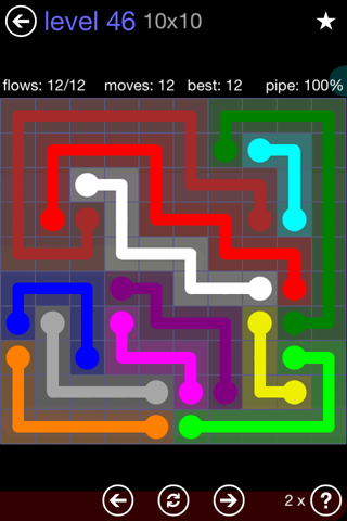 Solution and Answer to the Puzzle for Flow 10mania Pack Set 10x10 Level 46