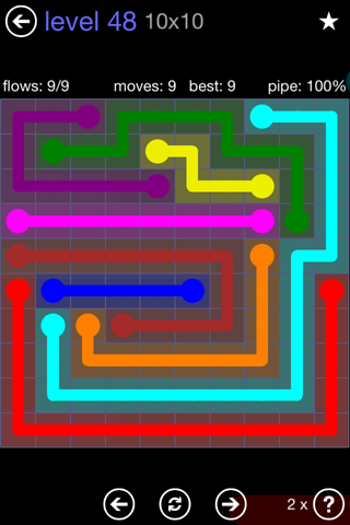 Solution and Answer to the Puzzle for Flow 10mania Pack Set 10x10 Level 48