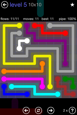 Solution and Answer to the Puzzle for Flow 10mania Pack Set 10x10 Level 5