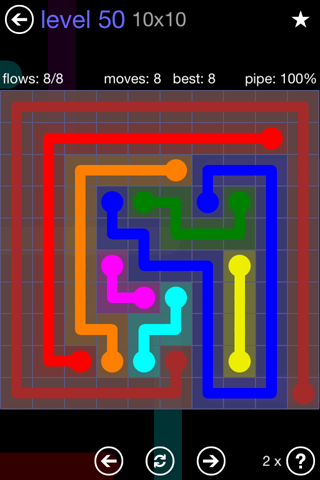 Solution and Answer to the Puzzle for Flow 10mania Pack Set 10x10 Level 50
