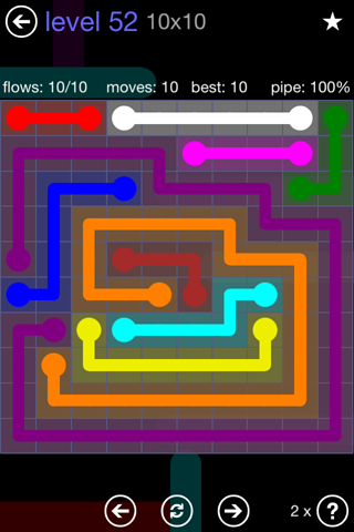 Solution and Answer to the Puzzle for Flow 10mania Pack Set 10x10 Level 52
