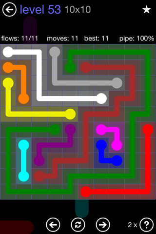Solution and Answer to the Puzzle for Flow 10mania Pack Set 10x10 Level 53