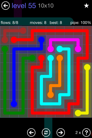 Solution and Answer to the Puzzle for Flow 10mania Pack Set 10x10 Level 55