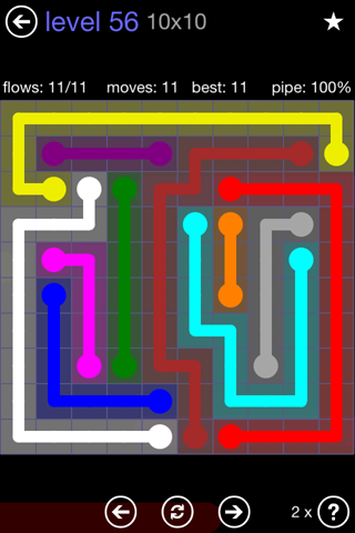Solution and Answer to the Puzzle for Flow 10mania Pack Set 10x10 Level 56